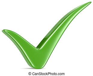 Green Check Mark. - Green Check Mark, white background.