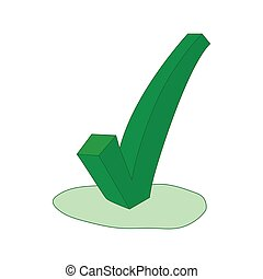 Green check mark icon, cartoon style