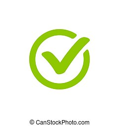 Green check mark icon in a circle. Tick symbol isolated on white background. Vector.