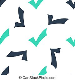 Green Check mark icon isolated seamless pattern on white background. Tick symbol. Vector