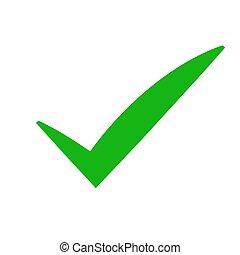 Green check mark icon. Tick symbol in green color, vector