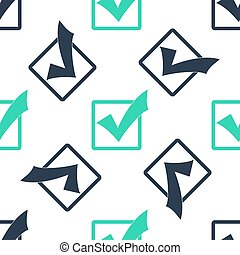 Green Check mark in a box icon isolated seamless pattern on white background. Tick symbol. Check list button sign.  Vector