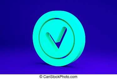 Green Check mark in round icon isolated on blue background. Check list button sign. Minimalism concept. 3d illustration 3D render