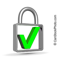 Green check mark into a closed padlock, security concept