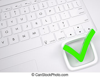 Green check mark on the keyboard