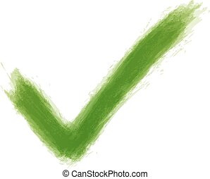 Green check mark sign watercolor texture