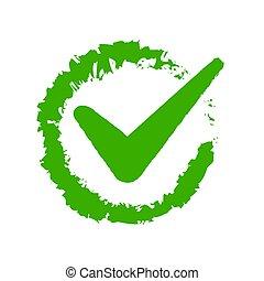 Green check on white background. Vector illustration