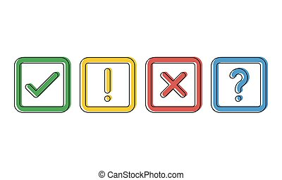green check, red cross, blue question mark and yellow exclamation point in squares, cartoon style vector icons