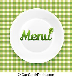 Green Checkered Cloth And White Plate
