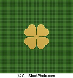 Green checkered pattern with clover leaf. Vector illustration