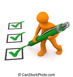 Orange cartoon character with green checklist and ballpen,