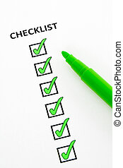 Green checklist - Checklist of completed tasks, with green...