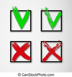 Green checkmark and red cross on white background. Set of tick and cross icons in square with shadow. Check mark icon set
