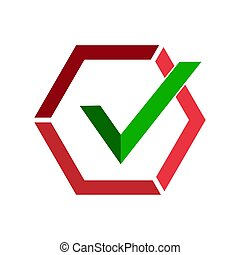 Green checkmark icon in red hexagon. Flat image.