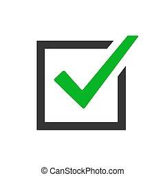 Green checkmark icon - vector.
