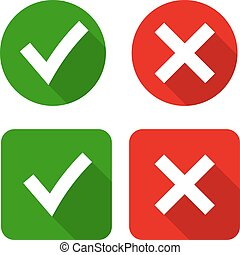 Green checkmark OK and red X icons, - Tick and cross signs....