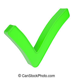 Green checkmark. Isolated render on a white background
