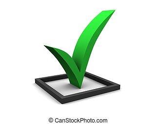 Green Checkmark - A large 3d green check mark.