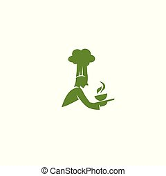 green chef with hat and hot soup bowl logo vector illustration