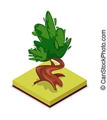 Green chestnut tree isometric 3D icon