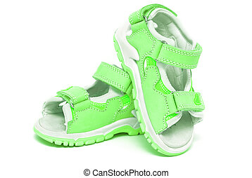 Green child's sandals