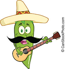 Green Chili Pepper Playing A Guitar