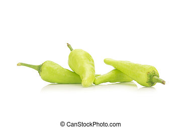 green chili peppers isolated on white background