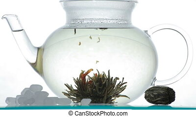 Green Chinese flower tea in the glass teapot, 5DII, 1080p,...