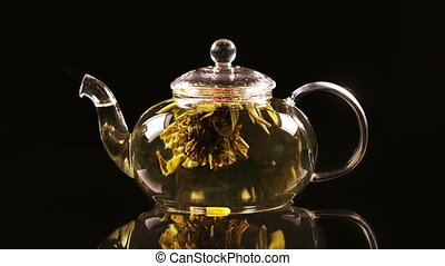 Green Chinese tea flower bud blooming in glass teapot -...