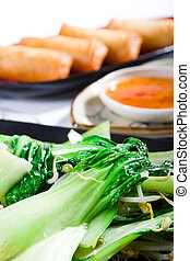 chinese vegetable - green chinese vegetable with golden egg ...