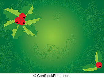 Green Christmas and New Year\'s background with holly and snowfla