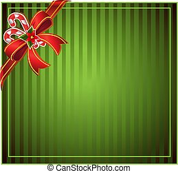 Green Christmas background with bow