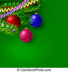 Green Christmas background with branches of trees, serpentine, c