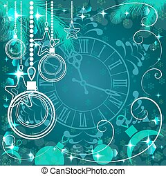 green Christmas background with clock , vector illustration