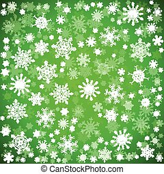 Green Christmas background with different snowflakes