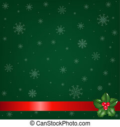 Green Christmas Background With Holly Berry - Christmas...