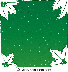 Christmas Background with Holly Leaf Edges