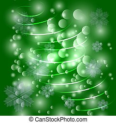 Green christmas background with snowflakes, christmas tree