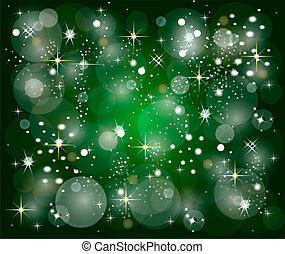 green christmas background with stars - illustration of a...
