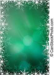 Green Christmas background with white snowflakes