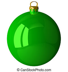 Green shiny Christmas ball isolated on white