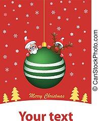 Green Christmas ball with santa