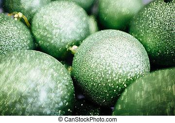 Green Christmas balls.