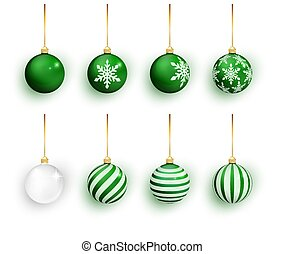 Green christmas balls set isolated on white. Stocking Christmas decorations. Green Christmas ball with snow effect set. Vector illustration