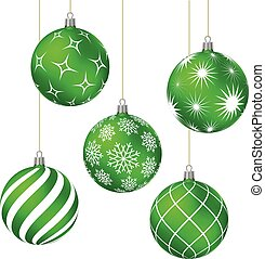 Green christmas balls with different patterns
