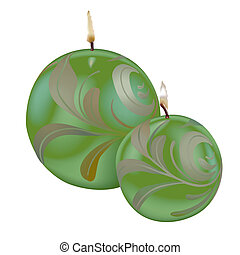 Green Christmas Candles