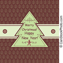Green christmas card with firs
