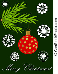 Christmas card - Green Christmas card with hanging ball from...