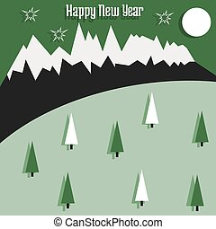 Christmas card with mountains and trees