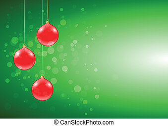 Green Christmas card with shiny red baubles